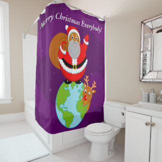 Black Santa Claus standing on the Earth, Shower Curtain