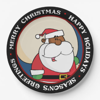 Black Santa Claus with Toy Sack Paper Plate