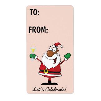 Black Santa Holiday Toast Gift Label Shipping Label