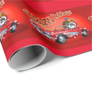 Black Santa in a Corvette! Wrapping Paper