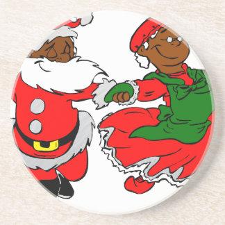 black santa mrs claus coaster