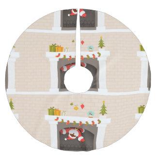 black santa stuck fireplace christmas tree skirt brushed polyester tree skirt