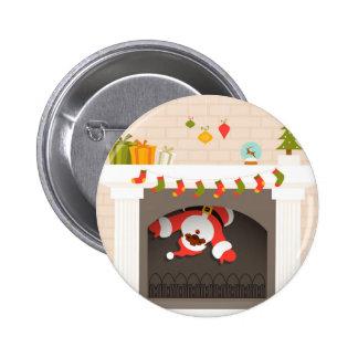 black santa stuck in fireplace 6 cm round badge
