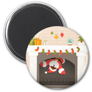 black santa stuck in fireplace 6 cm round magnet