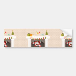 black santa stuck in fireplace bumper sticker