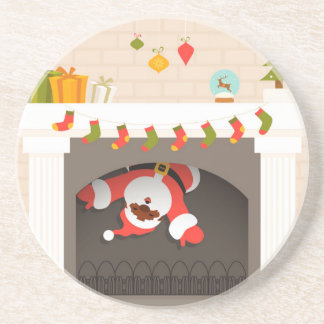 black santa stuck in fireplace coaster