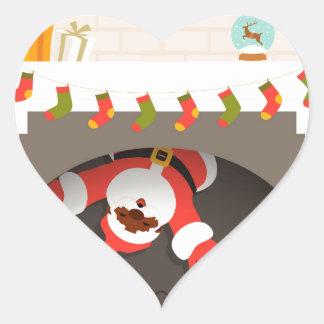 black santa stuck in fireplace heart sticker