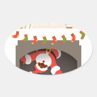 black santa stuck in fireplace oval sticker