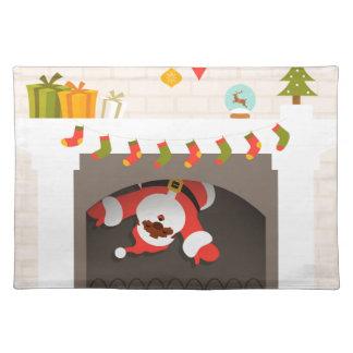 black santa stuck in fireplace placemat