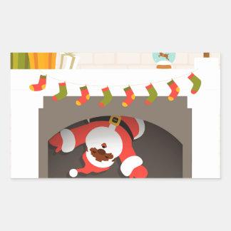 black santa stuck in fireplace rectangular sticker