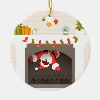 black santa stuck in fireplace round ceramic decoration