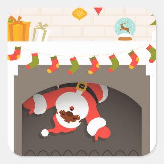 black santa stuck in fireplace square sticker