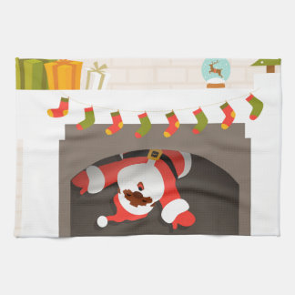 black santa stuck in fireplace tea towel