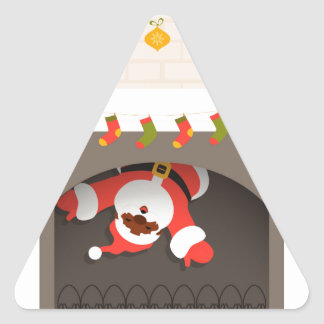 black santa stuck in fireplace triangle sticker