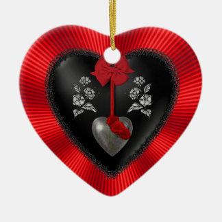 Black Satin and Silver Heart Ceramic Heart Decoration