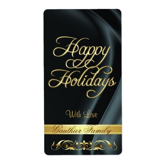 Black Satin Gold Scroll Happy Holidays Wine Label Shipping Label