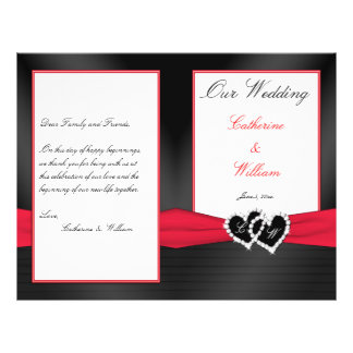 Black Satin Pleasts with Hearts Wedding Program 21.5 Cm X 28 Cm Flyer