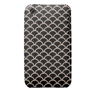 Black Scallop Pattern iPhone 3 Case-Mate Cases