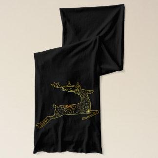 Black scarve with golden deer scarf