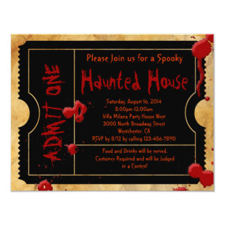 Black Scary Blood Splatter Halloween Party Ticket Card