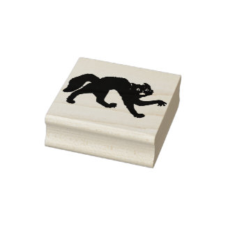 Black scary cat silhouette art stamp