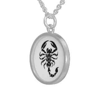 Black Scorpion - Sterling Silver Round Necklace