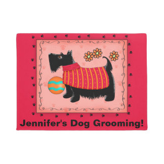 Black Scottie Dog Pet Grooming Business Red Doormat