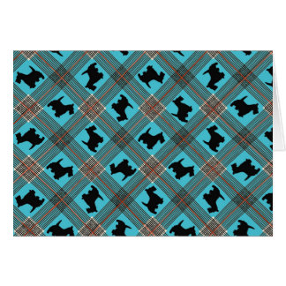 Black Scottie Dog Plaid Tartan Card
