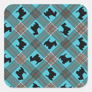 Black Scottie Dog Plaid Tartan Square Stickers