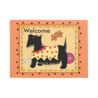 Black Scottie Dog Red Orange Welcome Custom Doormat