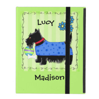 Black Scottie Terrier Dog Name Personalized Green iPad Cases