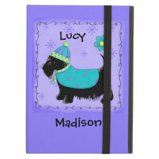 Black Scottie Terrier Dog Name Personalized Purple Case For iPad Air