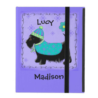 Black Scottie Terrier Dog Name Personalized Purple iPad Folio Cover