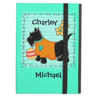Black Scottie Terrier Dog Name Personalized Teal iPad Air Case