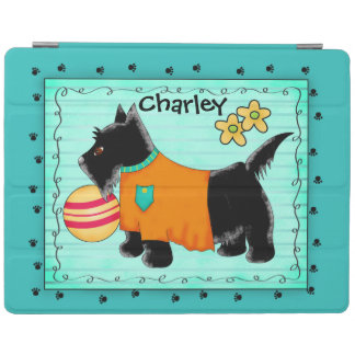 Black Scottie Terrier Dog Name Personalized Teal iPad Cover