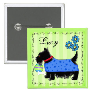 Black Scottie Terrier Dog Personalized Name Badge