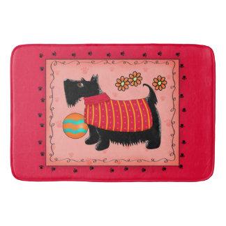 Black Scottie Terrier Dog Red Coral Decorative Bath Mat