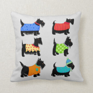 Black Scottie Terrier Dogs Grey or Grey Decorative Cushion