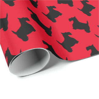 Black Scotties Your Background Color Wrapping Paper