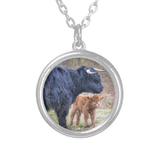 Black Scottish highlander mother cow with newborn Silver Plated Necklace