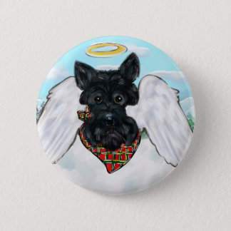 Black Scottish Terrier Angel 6 Cm Round Badge