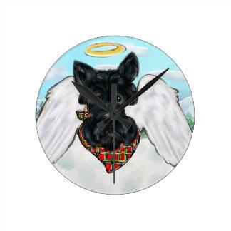 Black Scottish Terrier Angel Round Clock
