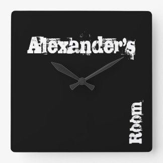 Black Scratch Personalised Wall Clock (Any Name)