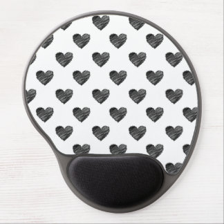 Black scribbled hearts gel mouse pad