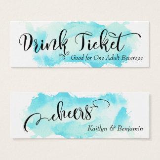 Black Script & Aqua Watercolor Drink Tickets