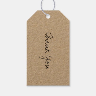 Black Script Kraft Thank You Gift Tag