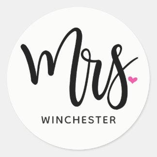 Black Script Mrs. (name) Classic Round Sticker