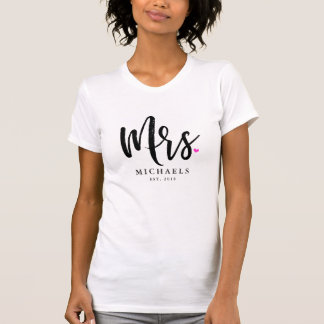 Black Script Mrs. (Name) With Your Wedding Year T-Shirt