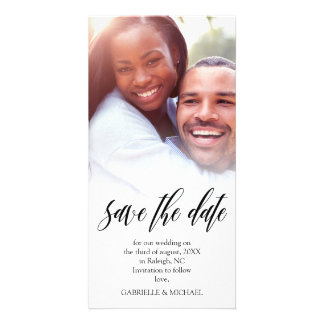 Black Script Overlay Save the Date Photo Card