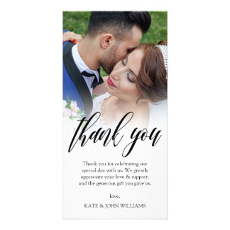 Black Script Overlay Wedding Photo Thank You Card